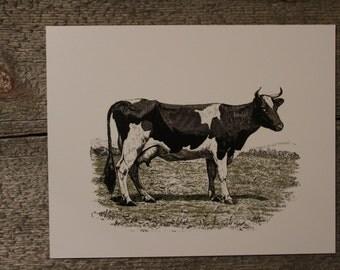 Vintage Farmhouse Print, Farmhouse Wall Art, Cow, Unique Home Decor, Black and White