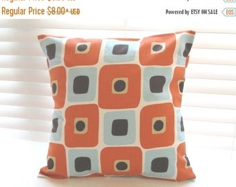 """SALE Pillow Covers, Pillows, Decorative Throw Pillows, Cushions, Orange Pillow, Throw Pillow, Pumpkin Orange, Village Blue and Natural, 14"""""""
