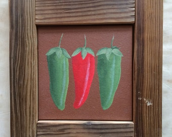 Chili Peppers are Hot; Southwestern Chili Pepper Art on Terracotta Tile; Red and Green Chili Peppers in Framed Tile Art
