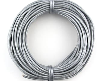 Gray Metallic Round Leather Cord 2mm 10 Feet