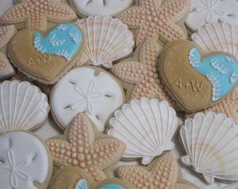 Beach Wedding Cookies, Seaside Ocean Wedding, Bridal Shower Birthday Party Starfish Cookie Favors Seashore Sand Dollars Seashell, Custom