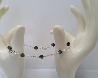 Swarovski Sterling Silver Stacking Bracelet Cobalt Blue  jewelry Wedding memory bracelet grandmother