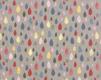 1/2 Yard - Mon Ami Fleur Pluie Gris Grey Fabric by Basic Grey - 30414 20