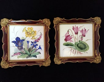 Pair of ROSENTHAL TILES Hand Painted Signed & Framed - 1931