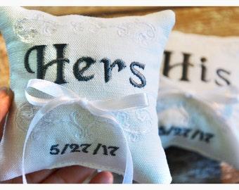 Ring bearer pillow, set of  2 pillows, His & Hers ring bearer pillows , wedding ring pillow , Custom embroidered ring bearer pillow (R95)
