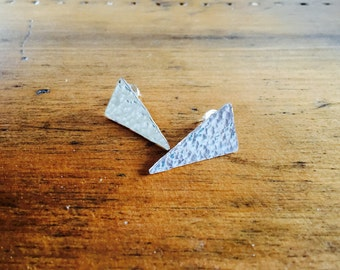 Hammered Triangular Studded Earrings
