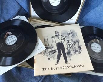 Harry Belafonte Record Set, 45 RPM, Set of 5 Vinyl Records, Booklet, Photographs, Boxed Set, Gift Idea