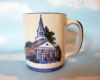 Louisville Stoneware Mug, Church picture, collectible mug, Pleasant Grove Baptist Church, coffee cup, Kentucky Heritage, anniversary mug