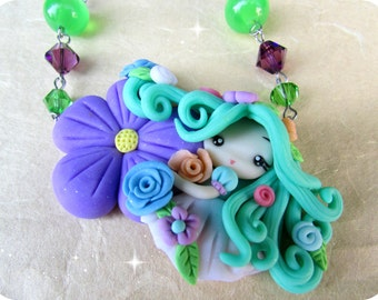 Flower Princess  Polymer clay Necklace