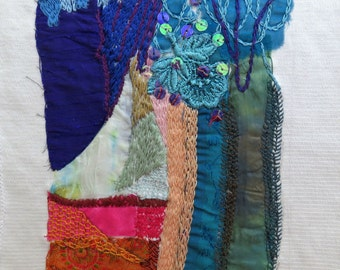 Turquoise lace,  Mini Quilt , hand embroidery, mixed media, wall hanging, home decor, Ooak