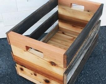 "Barn Wood & Reclaimed Cedar Record Album Crate 20"" x 14"" x 13.5"""