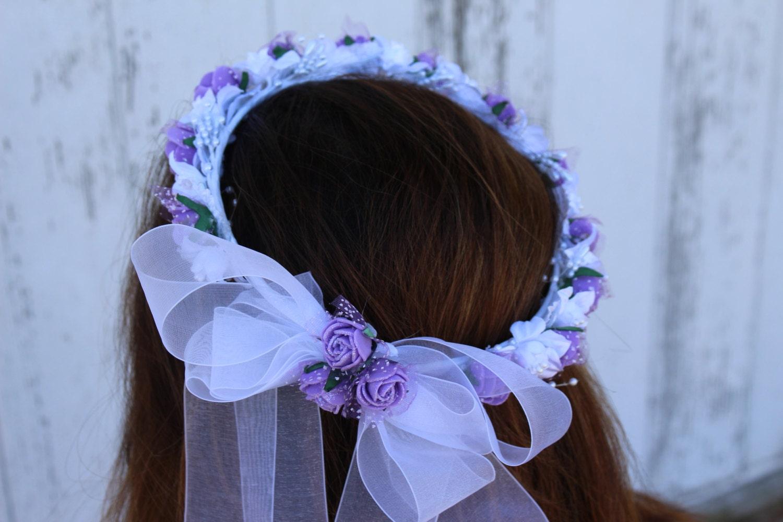 Flower Girl Hair Piece Flower Girl Crown Purple Roses with