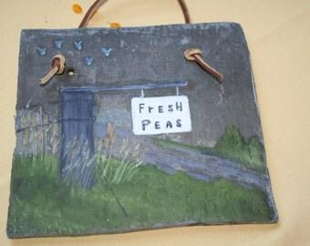 "Garden Slate Painting ""Peas"""