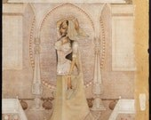 "Gopal Kumawat Painting on Paper, ""Padmini Nayika."" Rare Masterpiece from the Legend."