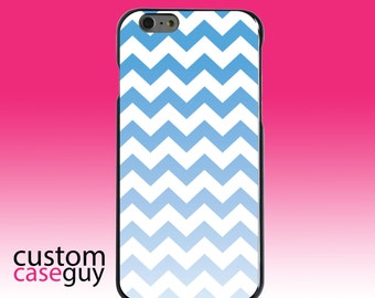 Hard Snap-On Case for Apple 5 5S SE 6 6S 7 Plus - CUSTOM Monogram - Any Colors - White Blue Fade Chevron Stripes