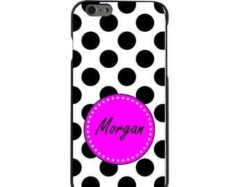 Hard Snap-On Case for Apple 5 5S SE 6 6S 7 Plus - CUSTOM Monogram - Any Colors - Black White Pink Polka Dots