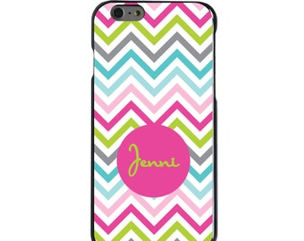 Hard Snap-On Case for Apple 5 5S SE 6 6S 7 Plus - CUSTOM Monogram - Any Colors - Rainbow Chevron Pink Name
