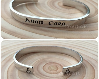 Celtic Anam Cara- soul mate Hand Stamped Cuff Bracelet, celtic, irish, custom