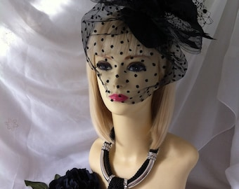 designer Unique Hand made black asymetrical large fascinator head band hair piece hat wedding ladies day races high fashion design