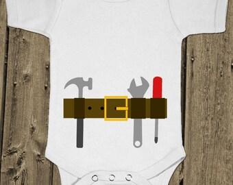 Tool Belt - Carpenter Construction Tools - Baby One Piece Cotton Bodysuit