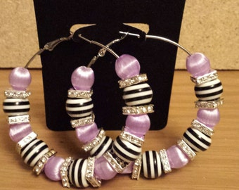 Basketball wives /Poparazzi inspired lavender striped hoop