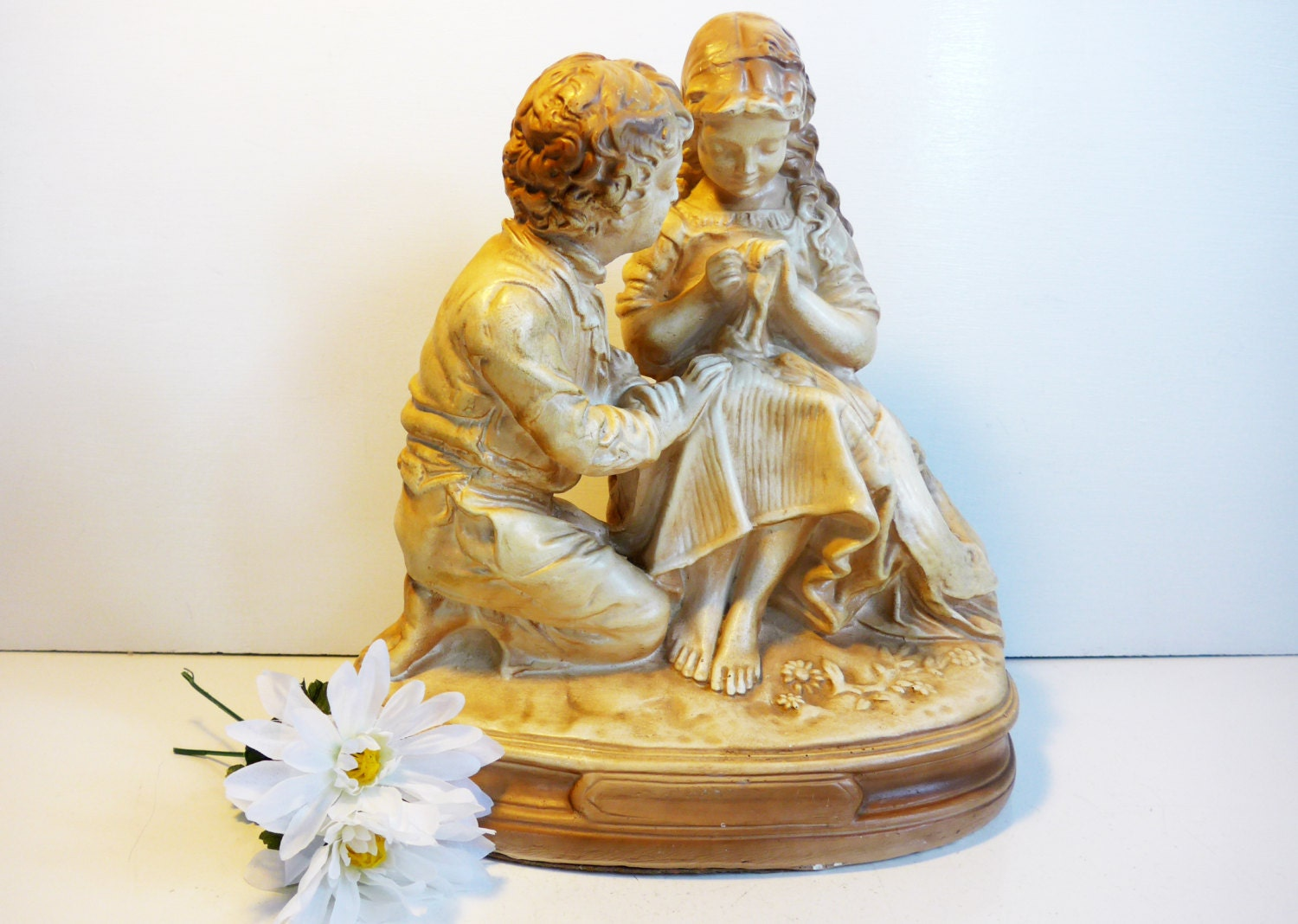 Vintage Chalkware Large John Rogers Reproduction First Love Statue ...