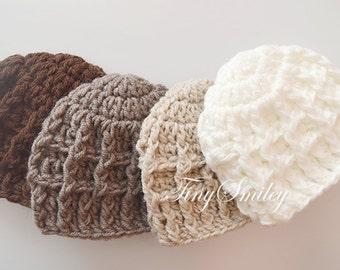 Newborn Boy Hat, Baby Boy Hat, Crochet Baby Hat, Baby Boy Beanie, Hats for Baby Boy, Hospital Baby Boy Hat, Newborn Photo Prop, Newborn Boy