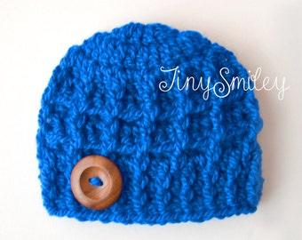 Blue Boy Hat, Royal Blue Boy Hat, Baby Boy Hat, Crochet Baby Hat, Hospital Baby Hats, Crochet Baby Outfits, Wool Boy Hat, Winter Boy Hats