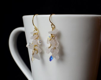 Rose Quartz Earrings, Blush Earrings, Rose Quartz Beads, Pink Dangle Earrings, Gemstone Earrings, Wedding Jewelry, Bridesmaid Jewelry, Gift