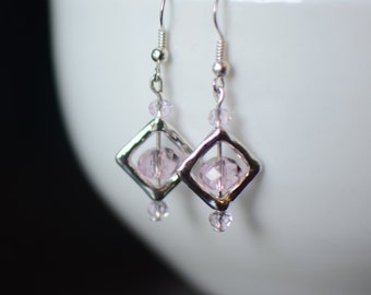 Pink Earrings, Silver Dangle Earrings, Swarovski Earrings, Bridesmaid Gift, Geometric Earrings, Gift for Her, Little Earrings