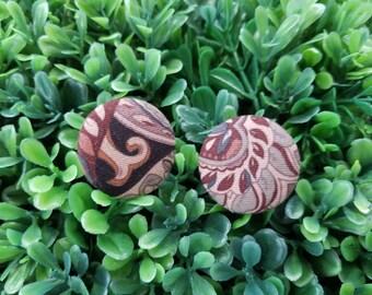 Old Fashion- Handmade Fabric Button Earrings
