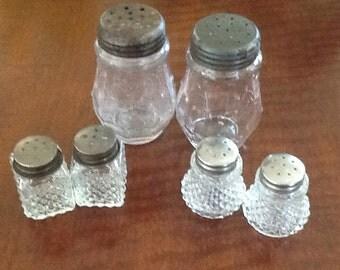 Vintage Glass Salt & Pepper Shakers, 3 Sets