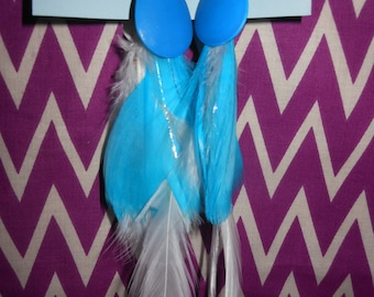 Blue and White Feather Fly Tye Earrings