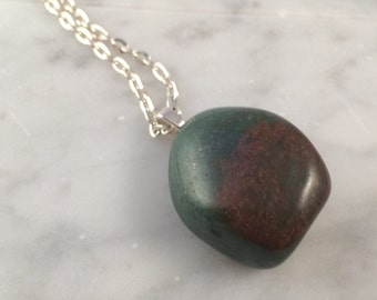 Green & Red Stone Pendant Necklace, OOAK Polished Stone on Long Chain