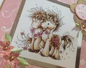 Birthday Card, Handmade, Unicorn Card, 8x8  Large Card, Unicorns, Unicorns and Butterfly, Rainbow