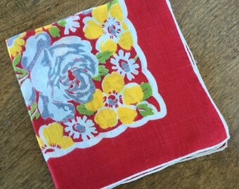 Vintage handkerchief, red, blue/gray, yellow, green