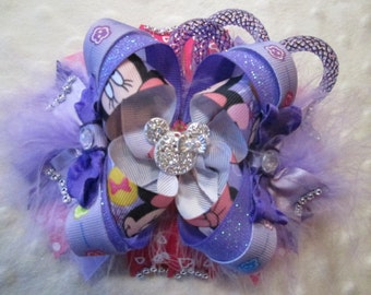 "Ready to Ship ~ OTT Over the Top Minnie Mouse, Purple and Pink ~ 6"" Hair Bow"