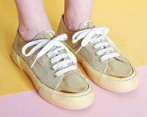 90s GOLDEN glitter PLATFORM canvas SNEAKERS club kid rave normcore avant garde esprit textile // Size 8.5 us / 6 uk / 39.5 eu