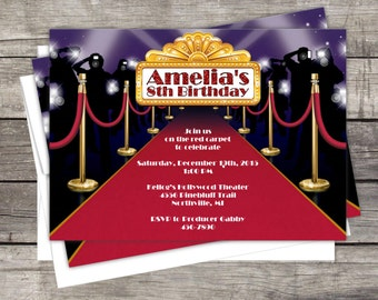 Hollywood Red Carpet Birthday Invitation Customized for your Event Birthday Party