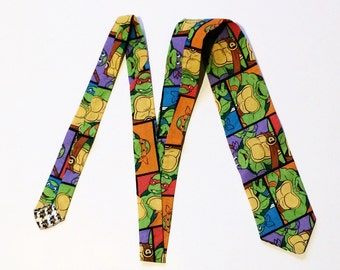 Teenage Mutant Ninja Turtles Squares Superhero necktie