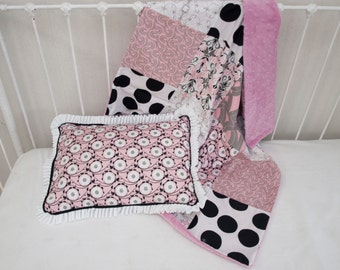 S A L E ! Pink, Grey, Black, and White  Baby Blanket and Pillow Set