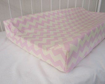SALE! 30% OFF! Cream and  Pink Chevron Changing Pad / Mat Cover
