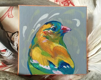Original Painting: Goldfinch, Acrylic on Canvas Board