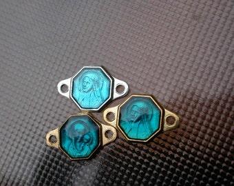 French vintage 12pcs blue enamel silver gold medal religious medal connector silver gold tone vintage charm st christophe ste francoise