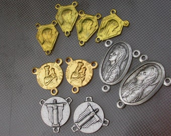 French vintage 10pcs brass based rosary medal silver gold religious medal virgin mary our lady bronze gold tone vintage charm