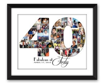 Forty 40 fortieth 40th Big 4-0 Thirty 30 twenty-One 21 Special Birthday Digital Printable Custom Any Number Photo Collage