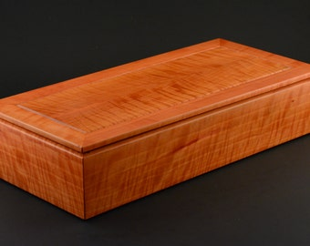 Wood box made from curly Cherry keepsake trinket pen pencil