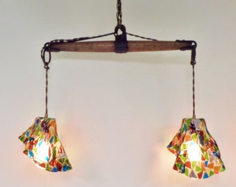 Vintage Industrial Chandelier with Fused Glass Shades - Industrial Pendant Lighting - Horse Evener Wood and Cast Iron - Brass Canopy