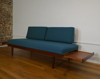 Scandinavian Daybed / Sofa with Teak Pull Out End Tables