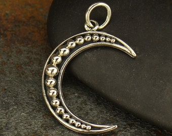 Sterling Silver Moon Charm - Crescent Moon with Granulation -Holiday -Nature -Halloween